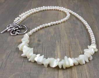Mother-of-Pearl & Freshwater Pearl Crescent Necklace