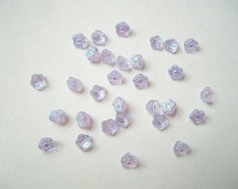RESERVED for D ~ Czech glass flower beads (74), Czech 6mm button beads, pale lilac flower button beads, lilac aurora borealis flowers