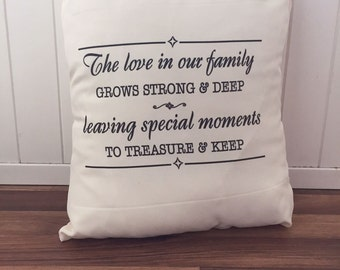 The love in our family grows strong and deep quote cushion cream 45x45cm family gift idea home accessory living room soft furnishing