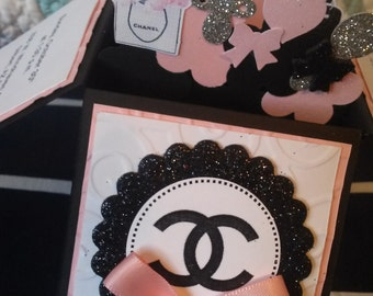 10 3D Card in a Box Designer Chanel Baby Shower Invitations Any Color