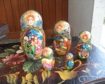 Russian Nesting Doll, Set Of Five Nesting Dolls, Russian Matryoshka Dolls