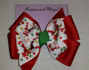 Christmas stacked hair bow, Grosgrain Ribbon, Santa Claus, Red, Green, White, single prong lined alligator clip