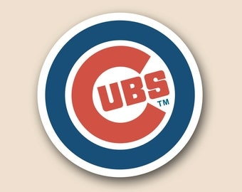 "CHICAGO CUBS Set of 2 Vinyl Cornhole DECAL Logo Wall Sticker Car Truck 12"" Size"