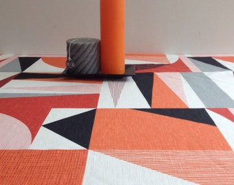 Scandinavian orange linen table cloth with geometric print