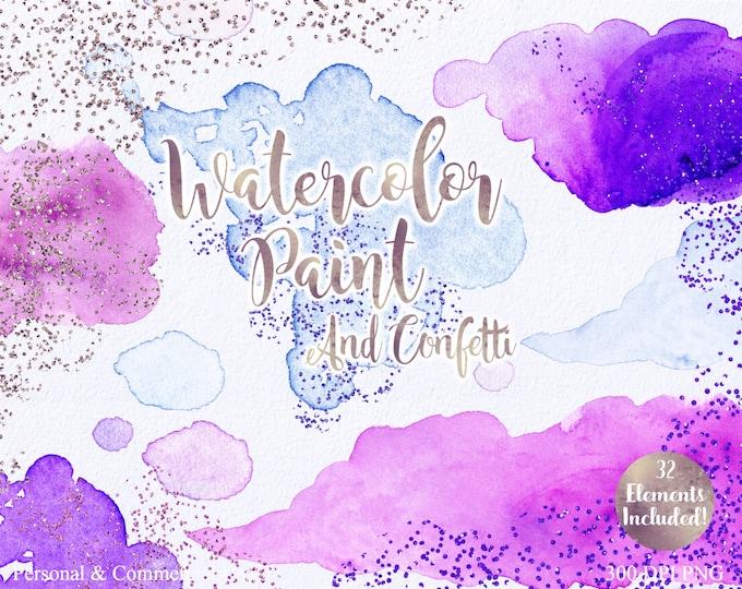 WATERCOLOR BRUSH STROKES Clipart Commercial Use Clipart 32 Watercolor Paint Splotch & Purple Gold Confetti Watercolor Textures Logo Clip Art