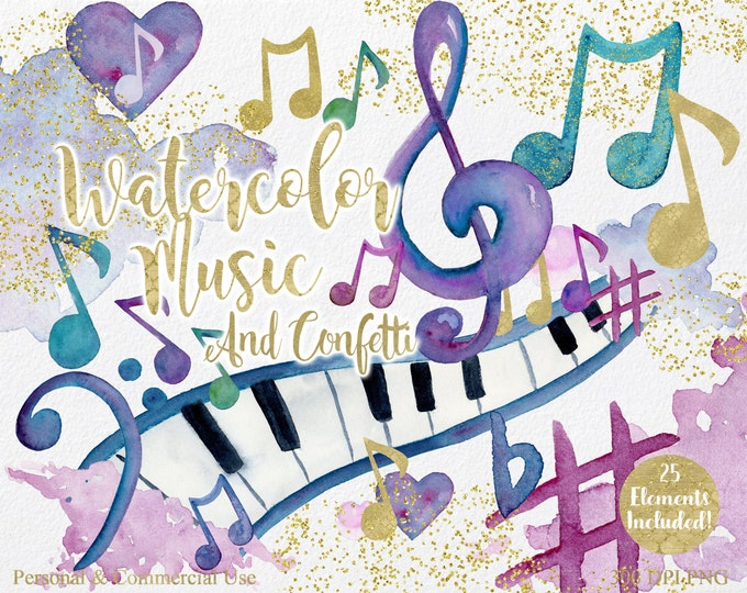 WATERCOLOR MUSIC Clipart Commercial Use Clipart 25 Elements Gold Confetti Music Notes Treble Clef Piano Keys & Watercolor Splash Clip Art