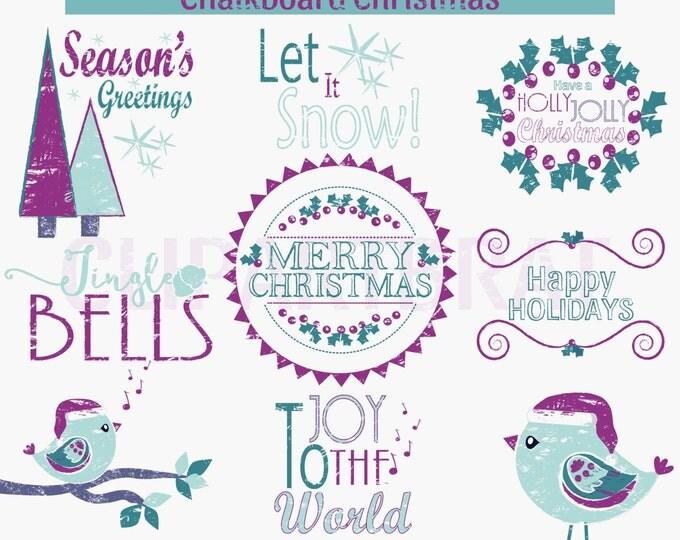 CHRISTMAS CLIP ART Commercial Use Clipart Christmas Chalkboard Word Art Trees Bird Holiday Digital Clip Art Teal Purple Chalk Board Clipart