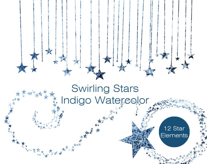 INDIGO BLUE WATERCOLOR Star Clipart Commercial Use Clipart Blue Swirling Star Graphics Navy Star Border Frames Clipart Baby Digital Clip Art