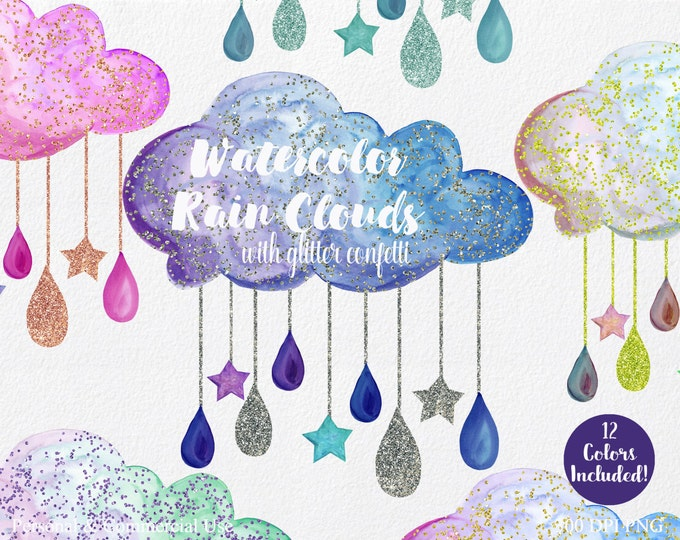WATERCOLOR RAIN CLOUDS Clipart Commercial Use Clipart 12 Clouds with Purple Pink & Gold Glitter Confetti Clouds Rain Drops Stars Clip Art