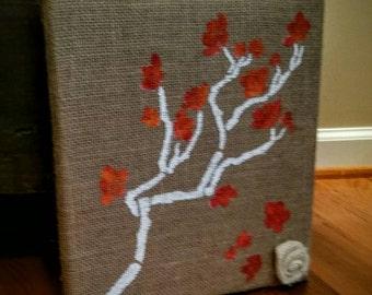 Falling Leaves Burlap Canvas