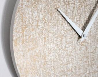 Wall clock white & gold / Wall clock / Natural wood / Geometric pastel pattern / Wooden wall clock