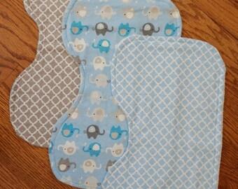 Blue Elephant Burp Cloths - Set of 3