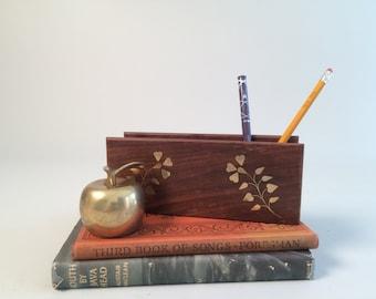 Archana Crafts Vintage Teak Wood Desk Organizer