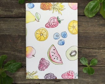 Eco Friendly A6 NoteBook- Fruit Salad Stationery Recycled Paper Lined Writing Notebook Watercolour Illustration