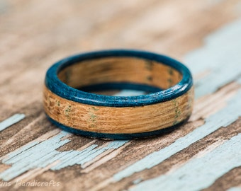 Blue Tennessee Whiskey Barrel Ring - Blue Wood Ring Mens Wedding Band Engagement Ring Womens Fashion Jewelry Wood Anniversary Gift Reclaimed