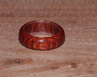 Leopardwood Ring -  Mens Womens Custom Hand Carved Wedding Engagement Band Multiple Size Leopard Wood Spotted Red Tan Brown