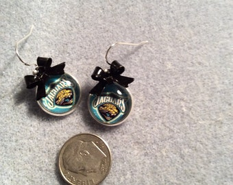 Jacksonville Jaguars cabochon earrings with Black bow