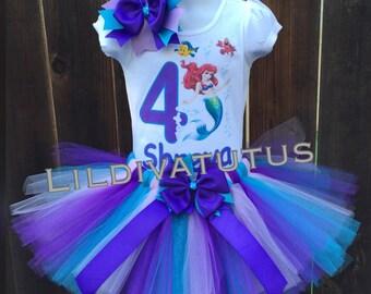 Handmade little mermaid tutu set / Ariel tutu set / Ariel birthday shirt
