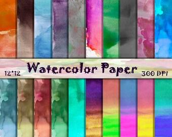 Watercolor Digital Paper Set in Bright Colors Summer Watercolor scrapbooking Paper Rainbow Watercolor Digital Paper Pack Commercial use