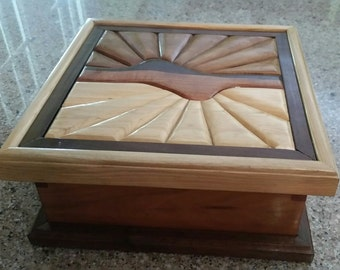 Essential Oils Box, Handcrafted Box, Wooden Box, Jewelry Box, Storage Box (Sunset Reflection)