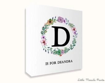 Deandra, Floral, Canvas Print, Baby Name Art, Monogram Print, Shower Gift, New Baby Print, Modern Nursery, Birth Print [G6G194C]