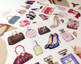 Planner Luggage Sticker - Mixed Luxury Inspired Perfume High Heel Nail Polish (2 sheets)