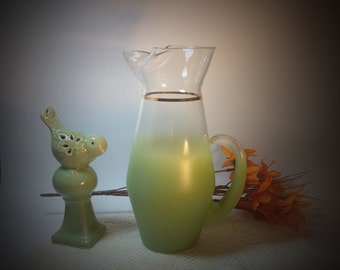 Blendo Pitcher Vintage Blendo West Virgina Vintage Pitcher Collectible Glass Shabby Cottage Chic Home Decor Decorative Accent