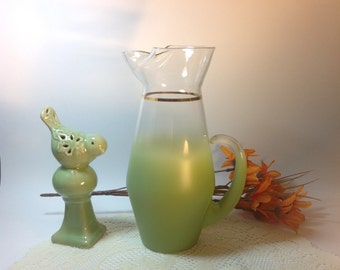 Blendo Vintage West Virginia Blendo Olive Green Glass Pitcher Vintage Glass Mid Century Collectible