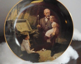 Knowles, Norman Rockwell collectors plate c1983  - Rockwell's  Light Campaign Series #2 - Grandpa's Treasure Chest