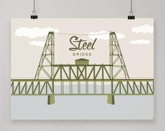 Steel Bridge / Illustrated Print / Portland, Oregon Design
