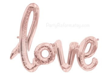 LOVE Balloon Banner Balloon Rose Gold Large Balloon LOVE Banner Air Fill only  Wedding Engagement Party Bridal Shower Bachelorette Party