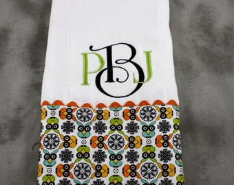 Two Color Monogrammed Burp Cloth