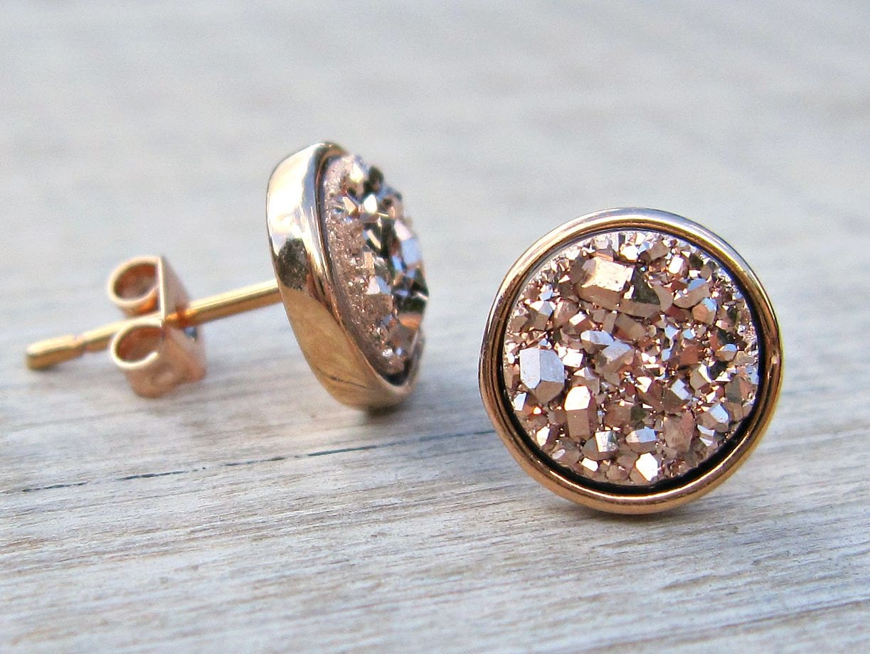 bridesmaid gift rose gold druzy studs tiny stud earrings. Black Bedroom Furniture Sets. Home Design Ideas