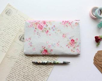 Zipper Pouch, Pencil Case, Makeup Bag, Cotton Pouch, Floral Print