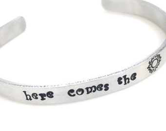 Here Comes the Sun stamped aluminum cuff | song lyrics | the Beatles