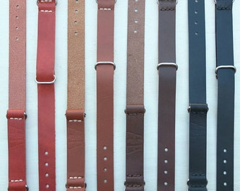 Horween 20mm Leather Watch Strap in Black, Brown, Red, and Tan Leather