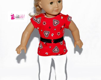 American made Girl Doll Clothes, 18 inch Girl Doll Clothing, Red Heart Top, White Knit Capris made to fit like American girl doll clothes