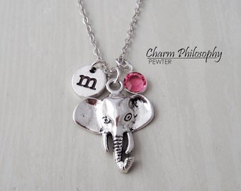 Elephant Head Necklace - Unique Elephant Charm - Antique Silver Jewelry - Monogram Personalized Initial and Birthstone