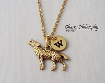 Gold wolf necklace Etsy