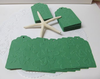 Embossed Shamrock Gift Tags - Emerald Green Embossed Tags - Favor Tag - Price Tag - Bridal Gifts - Shower Gifts - Simple and Elegant