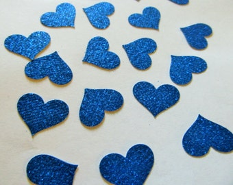 Heart Die Cuts - Blue Glitter Heart Confetti - Weddings - Showers - Party Decoration - Cardmaking - Scrapbooking
