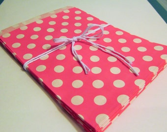 Hot Pink Polka Dot Treat Bags, Candy Buffet Bags, Little Girl Birthday Parties, Favor Bags, Wedding, Bridal Showers, Cookie Bags, Gift Bags