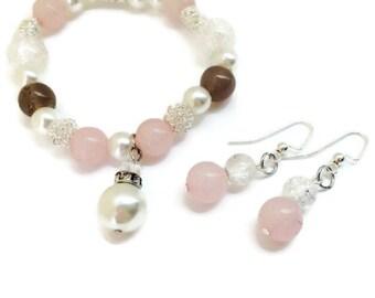Pink Charm bracelet - Dangle Earrings - Pearl bracelet - Pink Bracelet - Pink Jewelry - Gifts for her