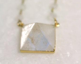 Pyramid Quartz Crystal Necklace