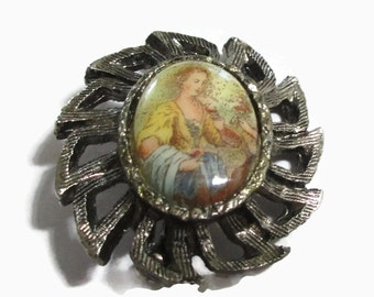 Cameo Portrait Brooch, Antique Tone Pin,  Mid Century Jewelry, 1950s-1960s, Porcelain, Victorian Lady