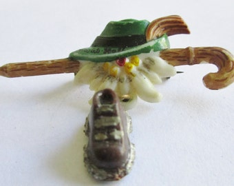 Celluloid Leprechaun Brooch with Walking Stick Lucky Shoe