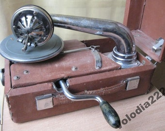 Small Record Player Gramophone USSR Phonograph