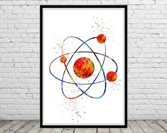 Atom, watercolor atom, atom print, atom art, watercolor print, art print, wall decor  (2181b)