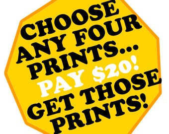 Buy FOUR regular (8.5x11) prints for 20!