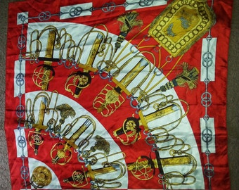 Vintage scarf, vintage red scarf, vintage swords scarf, vintage swords, 1980's scarves,